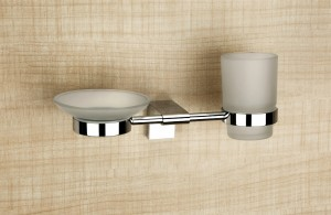 L-14 Glass Soap Dish & Tumbler Holder (Combo)