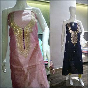Owomaniya Tissue Chanderi Gotta Patti Unstitched Designer Kurti
